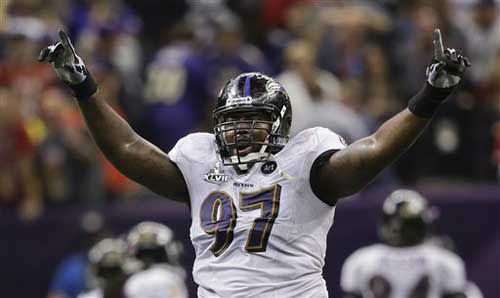 Baltimore Ravens defensive end Arthur Jones &#40;97&#41; celebrates after the San Francisco 49ers failed to convert on a potential touchdown pass on fourth-and-goal during the fourth quarter of the NFL Super Bowl XLVII football game, Sunday, Feb. 3, 2013, in New Orleans. &#40;AP Photo&#47;Marcio Sanchez&#41; <span class=meta>(Photo&#47;Marcio Sanchez)</span>