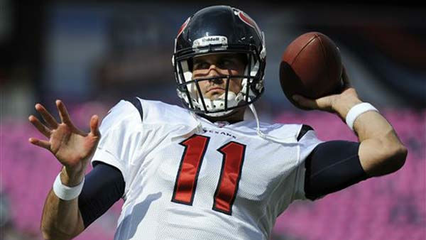 "<div class=""meta ""><span class=""caption-text "">Houston Texans quarterback Matt Leinart warms up before an NFL football game between the Houston Texans and the Tennessee Titans on Sunday, Oct. 23, 2011, in Nashville, Tenn. (AP Photo/Frederick Breedon) (AP Photo/ Frederick Breedon)</span></div>"