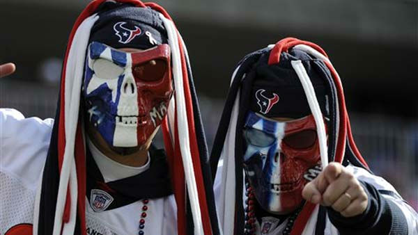 "<div class=""meta ""><span class=""caption-text "">Houston Texans fans cheer before an NFL football game between the Houston Texans and the Tennessee Titans on Sunday, Oct. 23, 2011, in Nashville, Tenn. (AP Photo/Frederick Breedon) (AP Photo/ Frederick Breedon)</span></div>"
