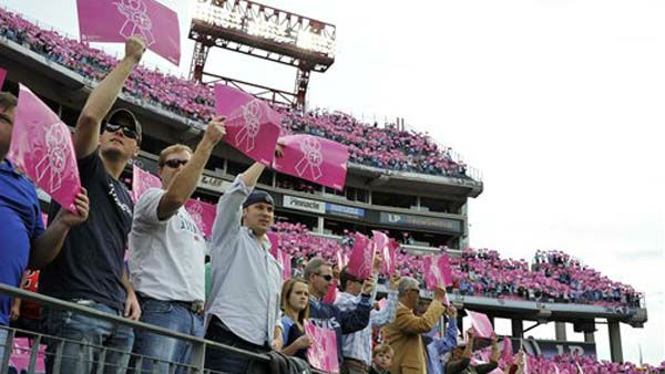 Fans hold up pink cards as part of a pregame display for breast cancer awareness before the start of an NFL football game between the Tennessee Titans and the Houston Texans on Sunday, Oct. 23, 2011, in Nashville, Tenn. &#40;AP Photo&#47;Frederick Breedon&#41; <span class=meta>(AP Photo&#47; Frederick Breedon)</span>