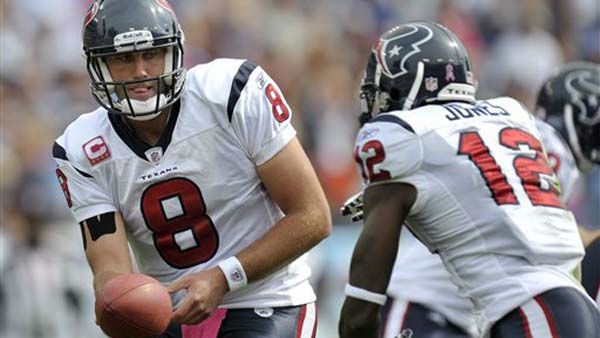 "<div class=""meta ""><span class=""caption-text "">Houston Texans quarterback Matt Schaub (8) hands off to wide receiver Jacoby Jones (12) in the first quarter of an NFL football game against the Tennessee Titans on Sunday, Oct. 23, 2011, in Nashville, Tenn. (AP Photo/Joe Howell) (AP Photo/ Joe Howell)</span></div>"