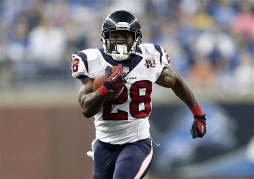 Houston Texans running back Justin Forsett &#40;28&#41; breaks for an 81-yard touchdown run during the third quarter of an NFL football game against the Detroit Lions at Ford Field in Detroit, Thursday, Nov. 22, 2012. &#40;AP Photo&#47;Rick Osentoski&#41; <span class=meta>(Photo&#47;Rick Osentoski)</span>
