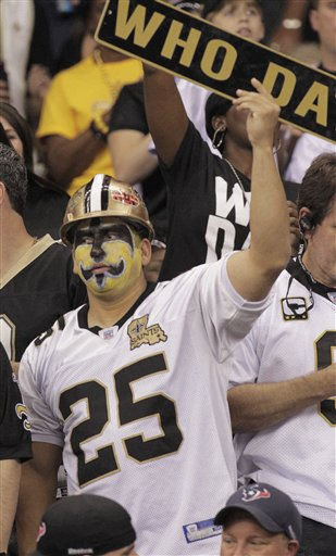 "<div class=""meta ""><span class=""caption-text "">A New Orleans Saints fan watches play during the first half of an NFL football game against the Houston Texans, Sunday, Sept. 25, 2011, in New Orleans. (AP Photo/Bill Haber) (AP Photo/ Bill Haber)</span></div>"