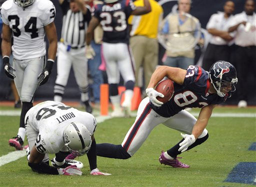 "<div class=""meta image-caption""><div class=""origin-logo origin-image ""><span></span></div><span class=""caption-text"">Houston Texans wide receiver Kevin Walter (83) breaks away from Oakland Raiders cornerback Stanford Routt (26) to score a touchdown in the first quarter of an NFL football game on Sunday, Oct. 9, 2011, in Houston. (AP Photo/Dave Einsel) (AP Photo/ Dave Einsel)</span></div>"