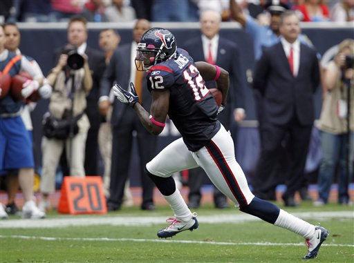 Houston Texans wide receiver Jacoby Jones in the first quarter of an NFL football game against the Oakland Raiders Sunday, Oct. 9, 2011, in Houston. &#40;AP Photo&#47;Gerald Herbert&#41; <span class=meta>(AP Photo&#47; Gerald Herbert)</span>