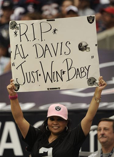 An Oakland Raiders fan in the first quarter of an NFL football game against the Houston Texans Sunday, Oct. 9, 2011, in Houston. &#40;AP Photo&#47;Dave Einsel&#41; <span class=meta>(AP Photo&#47; Dave Einsel)</span>
