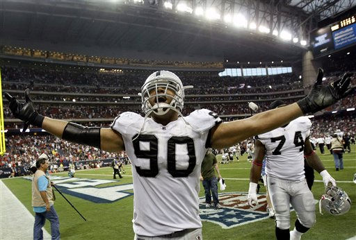 "<div class=""meta image-caption""><div class=""origin-logo origin-image ""><span></span></div><span class=""caption-text"">Oakland Raiders defensive tackle Desmond Bryant (90) celebrates their 25-20 victory over the Houston Texans in an NFL football game Sunday, Oct. 9, 2011, in Houston. (AP Photo/Gerald Herbert) (AP Photo/ Gerald Herbert)</span></div>"