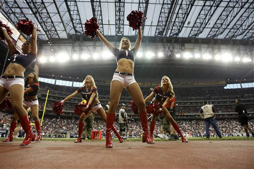 "<div class=""meta image-caption""><div class=""origin-logo origin-image ""><span></span></div><span class=""caption-text"">Houston Texans cheerleaders in the fourth quarter of an NFL football game Sunday, Oct. 9, 2011, in Houston. The Raiders won 25-20. (AP Photo/Gerald Herbert) (AP Photo/ Gerald Herbert)</span></div>"