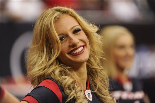 "<div class=""meta image-caption""><div class=""origin-logo origin-image ""><span></span></div><span class=""caption-text"">Houston Texans cheerleader in the first quarter of an NFL football game against the Oakland Raiders Sunday, Oct. 9, 2011, in Houston. (AP Photo/Dave Einsel) (AP Photo/ Dave Einsel)</span></div>"