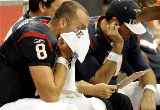 Houston Texans quarterback Matt Schaub against the Oakland Raiders in the fourth quarter of an NFL football game Sunday, Oct. 9, 2011, in Houston. &#40;AP Photo&#47;Dave Einsel&#41; <span class=meta>(AP Photo&#47; Dave Einsel)</span>