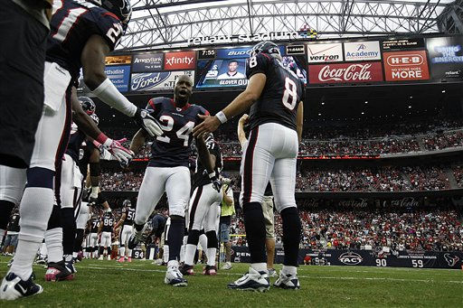 "<div class=""meta image-caption""><div class=""origin-logo origin-image ""><span></span></div><span class=""caption-text"">Houston Texans cornerback Johnathan Joseph (24) runs onto the field as players are introduced, before an NFL football game against the Oakland Raiders, Sunday, Oct. 9, 2011, in Houston. (AP Photo/Gerald Herbert) (AP Photo/ Gerald Herbert)</span></div>"
