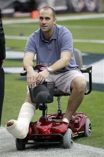 "<div class=""meta ""><span class=""caption-text "">Houston Texans quarterback Matt Schaub sits  on a cart with his foot propped up before an NFL football game against the Atlanta Falcons Sunday, Dec. 4, 2011, in Houston. (AP Photo/David J. Phillip) (AP Photo/ David J. Phillip)</span></div>"
