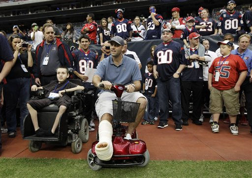 "<div class=""meta ""><span class=""caption-text "">Houston Texans quarterback Matt Schaub, center, sits with fans with his injured foot propped up before an NFL football game against the Atlanta Falcons, Sunday, Dec. 4, 2011, in Houston. (AP Photo/David J. Phillip) (AP Photo/ David J. Phillip)</span></div>"