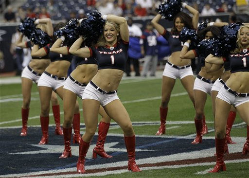 "<div class=""meta image-caption""><div class=""origin-logo origin-image ""><span></span></div><span class=""caption-text"">Houston Texans cheerleaders before an NFL football game against the Atlanta Falcons Sunday, Dec. 4, 2011, in Houston. (AP Photo/David J. Phillip) (AP Photo/ David J. Phillip)</span></div>"