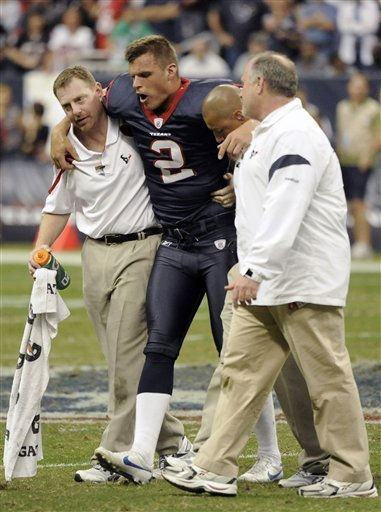 Houston Texans&#39; Brett Hartmann &#40;2&#41; is helped off the field after being injured in the fourth quarter of an NFL football game against the Atlanta Falcons, Sunday, Dec. 4, 2011, in Houston. The Texans won 17-10. &#40;AP Photo&#47;Dave Einsel&#41; <span class=meta>(AP Photo&#47; Dave Einsel)</span>