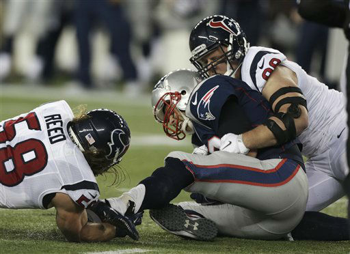 "<div class=""meta ""><span class=""caption-text "">Houston Texans defensive end J.J. Watt (99) and Brooks Reed sack New England Patriots quarterback Tom Brady during the first half of an AFC divisional playoff NFL football game in Foxborough, Mass., Sunday, Jan. 13, 2013. (AP Photo/Charles Krupa) (AP Photo/ Charles Krupa)</span></div>"