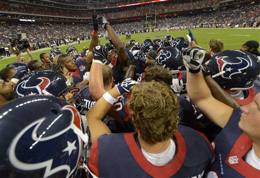 "<div class=""meta ""><span class=""caption-text "">The Houston Texans huddle before an NFL football game against the San Francisco 49ers, Saturday, Aug. 18, 2012, in Houston.   (AP Photo/ Dave Einsel)</span></div>"