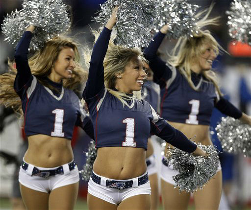 New England Patriots cheerleaders perform during the first half of an AFC divisional playoff NFL football game between the Patriots and the Houston Texans in Foxborough, Mass., Sunday, Jan. 13, 2013. &#40;AP Photo&#47;Stephan Savoia&#41; <span class=meta>(AP Photo&#47; Stephan Savoia)</span>