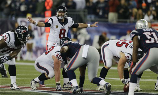 "<div class=""meta ""><span class=""caption-text "">Houston Texans quarterback Matt Schaub (8) calls an audible during the first half of an AFC divisional playoff NFL football game against the New England Patriots in Foxborough, Mass., Sunday, Jan. 13, 2013.  (AP Photo/ Charles Krupa)</span></div>"