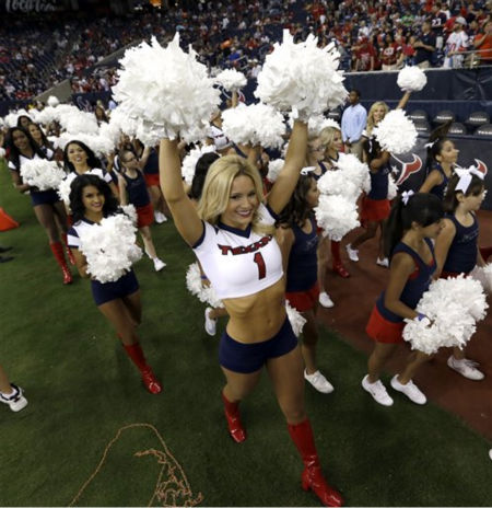 "<div class=""meta image-caption""><div class=""origin-logo origin-image ""><span></span></div><span class=""caption-text"">Houston Texans cheerleaders in the fourth quarter an NFL preseason football game Saturday, Aug. 18, 2012, in Houston. The Texans beat the 49ers 20-9.   (AP Photo/ David J. Phillip)</span></div>"