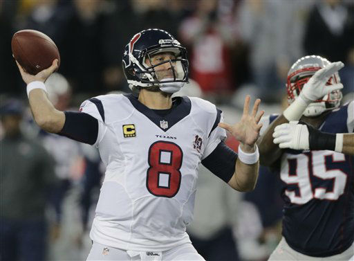 "<div class=""meta image-caption""><div class=""origin-logo origin-image ""><span></span></div><span class=""caption-text"">Houston Texans quarterback Matt Schaub looks to pass as New England Patriots defensive end Chandler Jones (95) rushes during the first half of an AFC divisional playoff NFL football game in Foxborough, Mass., Sunday, Jan. 13, 2013. (AP Photo/Charles Krupa) (AP Photo/ Charles Krupa)</span></div>"