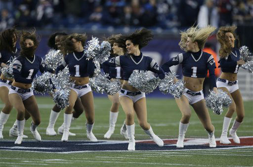 New England Patriots&#39; cheerleaders perform during before an AFC divisional playoff NFL football game between the New England Patriots and the Houston Texans in Foxborough, Mass., Sunday, Jan. 13, 2013. &#40;AP Photo&#47;Charles Krupa&#41; <span class=meta>(AP Photo&#47; Charles Krupa)</span>