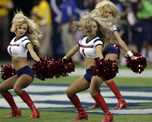 "<div class=""meta ""><span class=""caption-text "">Houston Texans cheerleaders in the fourth quarter an NFL preseason football game Saturday, Aug. 18, 2012, in Houston. The Texans beat the 49ers 20-9.   (AP Photo/ David J. Phillip)</span></div>"
