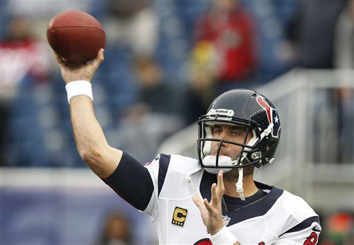"<div class=""meta ""><span class=""caption-text "">Houston Texans quarterback Matt Schaub loosens up before an AFC divisional playoff NFL football game against the New England Patriots in Foxborough, Mass., Sunday, Jan. 13, 2013. (AP Photo/Stephan Savoia) (AP Photo/ Stephan Savoia)</span></div>"