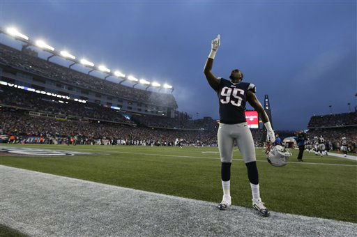New England Patriots defensive end Chandler Jones stands in the end zone before an AFC divisional playoff NFL football game against the Houston Texans in Foxborough, Mass., Sunday, Jan. 13, 2013. &#40;AP Photo&#47;Charles Krupa&#41; <span class=meta>(AP Photo&#47; Charles Krupa)</span>