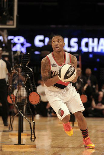 Damian Lillard of the Portland Trail Blazers competes in the skills challenge during NBA All-Star Saturday Night basketball Saturday, Feb. 16, 2013, in Houston.   <span class=meta>(AP Photo&#47; Pat Sullivan)</span>