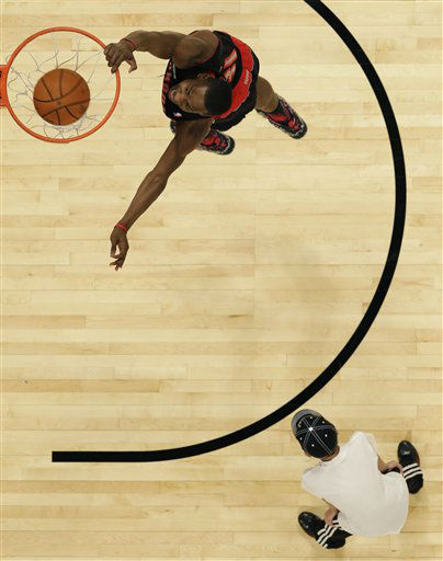 Terrence Ross of the Toronto Raptors takes his turn at the slam dunk contest during NBA All-Star Saturday Night basketball Saturday, Feb. 16, 2013, in Houston.   <span class=meta>(AP Photo&#47; Eric Gay)</span>