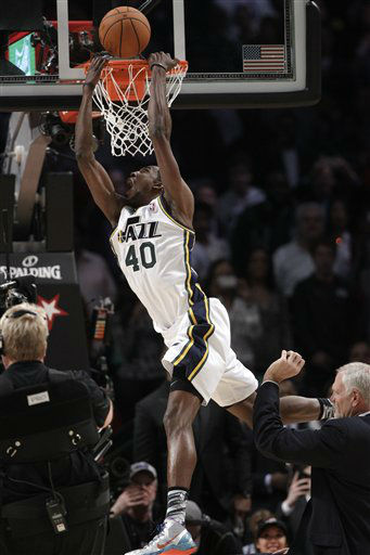 Jeremy Evans of the Utah Jazz competes in the slam dunk contest during NBA All-Star Saturday Night basketball Saturday, Feb. 16, 2013, in Houston.  <span class=meta>(AP Photo&#47; Eric Gay)</span>