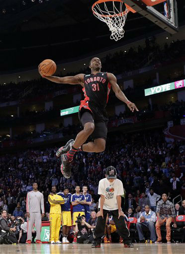 Terrence Ross of the Toronto Raptors takes his turn the slam dunk contest during NBA All-Star Saturday Night basketball Saturday, Feb. 16, 2013, in Houston.   <span class=meta>(AP Photo&#47; Eric Gay)</span>