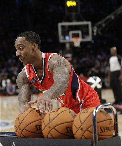 Jeff Teague of the Atlanta Hawks grabs a ball during the skills challenge in NBA basketball All-Star Saturday Night, Feb. 16, 2013, in Houston.  <span class=meta>(AP Photo&#47; Eric Gay)</span>