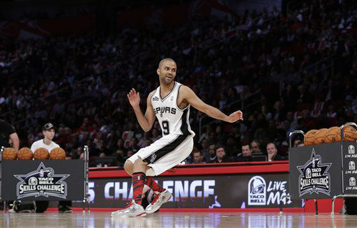 Tony Parker, from France and of the San Antonio Spurs, participates in the skills challenge during NBA All-Star Saturday Night basketball Saturday, Feb. 16, 2013, in Houston.  <span class=meta>(AP Photo&#47; Eric Gay)</span>