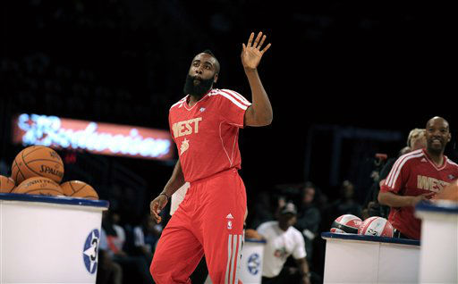 Houston Rockets&#39; James Harden participates at the skills challenge during NBA All-Star Saturday Night basketball in Houston on Saturday, Feb. 16, 2013. &#40;AP Photo&#47;Pat Sullivan&#41; <span class=meta>(AP Photo&#47; Pat Sullivan)</span>