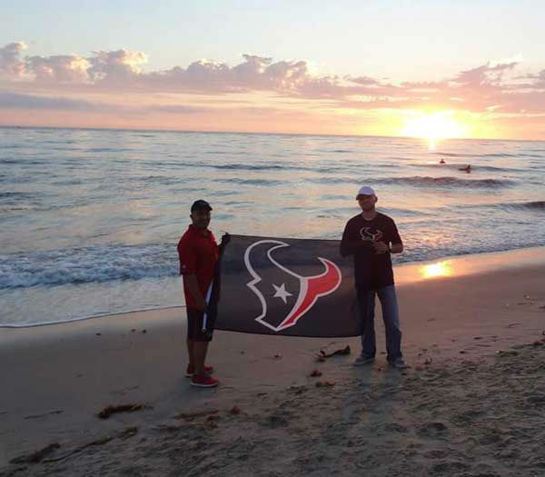 These are photos of Texans fans representing Houston loud and proud in Sand Diego in front of the season opener against the Chargers. If you&#39;re there or know someone there, send photos to us at news@abc13.com <span class=meta>(Photo&#47;ABC13)</span>