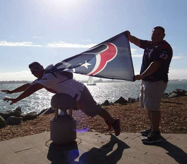 "<div class=""meta ""><span class=""caption-text "">These are photos of Texans fans representing Houston loud and proud in Sand Diego in front of the season opener against the Chargers. If you're there or know someone there, send photos to us at news@abc13.com (Photo/ABC13)</span></div>"