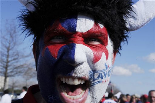Houston Texans fan Brian Ring yells for the team&#39;s first playoff game before the NFL wild card playoff football game against the Cincinnati Bengals Saturday, Jan. 7, 2012, in Houston. &#40;AP Photo&#47;Pat Sullivan&#41; <span class=meta>(AP Photo&#47; Pat Sullivan)</span>