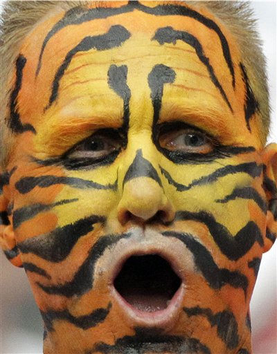 A Cincinnati Bengals fan cheers at the players during warm-ups before an NFL wild card playoff football game against the Houston Texans Saturday, Jan. 7, 2012, in Houston. &#40;AP Photo&#47;Tony Gutierrez&#41; <span class=meta>(AP Photo&#47; Tony Gutierrez)</span>
