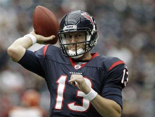 Houston Texans quarterback T.J. Yates warms up before an NFL wild card playoff football game against the Cincinnati Bengals Saturday, Jan. 7, 2012, in Houston. &#40;AP Photo&#47;Tony Gutierrez&#41; <span class=meta>(AP Photo&#47; Tony Gutierrez)</span>