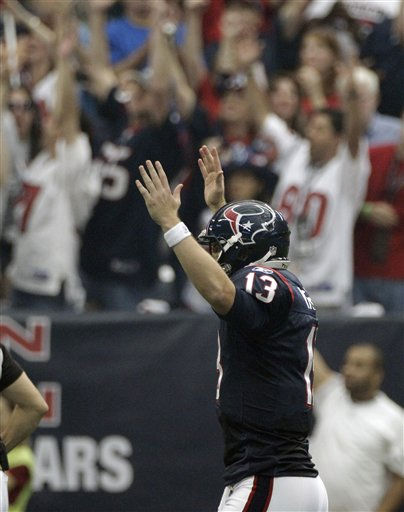 "<div class=""meta ""><span class=""caption-text "">Houston Texans quarterback T.J. Yates and Texans fans signal a touchdown against the Cincinnati Bengals during the first quarter of an NFL wild card playoff football game Saturday, Jan. 7, 2012, in Houston. (AP Photo/Tony Gutierrez) (AP Photo/ Tony Gutierrez)</span></div>"