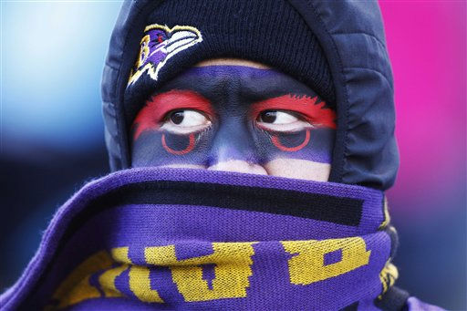A Baltimore Ravens fan, Tommy Lee, of Seattle, stays bundled up a against the cold, as he watches teams warm up before an NFL divisional playoff football game between the Baltimore Ravens and Houston Texans in Baltimore, Sunday, Jan. 15, 2012. &#40;AP Photo&#47;Evan Vucci&#41; <span class=meta>(AP Photo&#47; Evan Vucci)</span>
