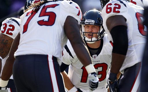 Houston Texans quarterback T.J. Yates &#40;13&#41; huddles with the team before an NFL divisional playoff football game against the Baltimore Ravens in Baltimore, Sunday, Jan. 15, 2012. &#40;AP Photo&#47;Patrick Semansky&#41; <span class=meta>(AP Photo&#47; Patrick Semansky)</span>