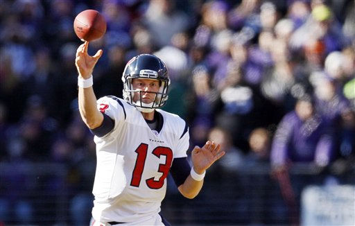 Houston Texans quarterback T.J. Yates passes during the first half of an NFL divisional playoff football game against the Baltimore Ravens in Baltimore, Sunday, Jan. 15, 2012. &#40;AP Photo&#47;Patrick Semansky&#41; <span class=meta>(AP Photo&#47; Patrick Semansky)</span>