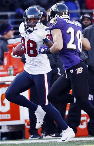 Houston Texans Danieal Manning is forced out of bounds by Baltimore Ravens strong safety Tom Zbikowski on a kick off return during the first half of an NFL divisional playoff football game in Baltimore, Sunday, Jan. 15, 2012. &#40;AP Photo&#47;Patrick Semansky&#41; <span class=meta>(AP Photo&#47; Patrick Semansky)</span>