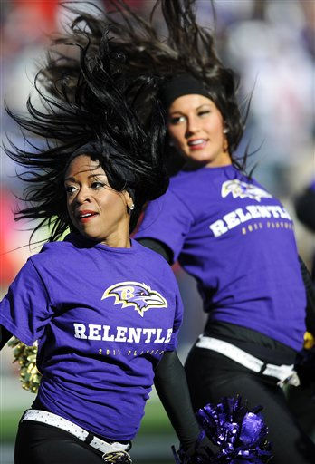 The Baltimore Ravens cheerleaders perform during the first half of an NFL divisional playoff football game against the Houston Texans in Baltimore, Sunday, Jan. 15, 2012. &#40;AP Photo&#47;Nick Wass&#41; <span class=meta>(AP Photo&#47; Nick Wass)</span>