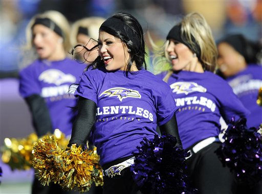 "<div class=""meta ""><span class=""caption-text "">The Baltimore Ravens cheerleaders perform during the first half of an NFL divisional playoff football game against the Houston Texans in Baltimore, Sunday, Jan. 15, 2012. (AP Photo/Nick Wass) (AP Photo/ Nick Wass)</span></div>"