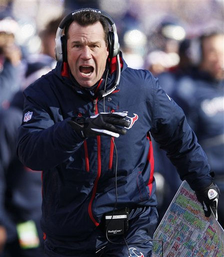 "<div class=""meta ""><span class=""caption-text "">Houston Texans head coach Gary Kubiak reacts to a play during the first half of an NFL divisional playoff football game against the Baltimore Ravens in Baltimore, Sunday, Jan. 15, 2012. (AP Photo/Patrick Semansky) (AP Photo/ Patrick Semansky)</span></div>"