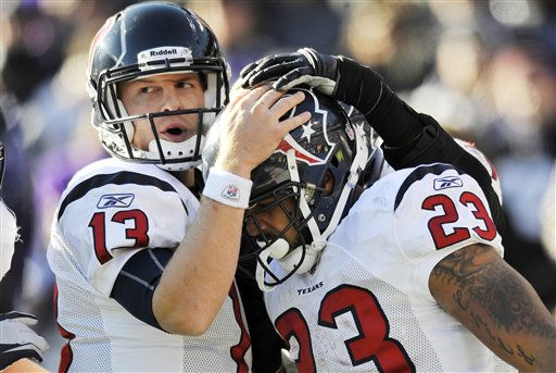 "<div class=""meta ""><span class=""caption-text "">Houston Texans quarterback T.J. Yates, left, congratulates running back Arian Foster on his touchdown during the first half of an NFL divisional playoff football game against the Baltimore Ravens in Baltimore, Sunday, Jan. 15, 2012. (AP Photo/Gail Burton) (AP Photo/ Gail Burton)</span></div>"